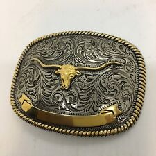 Silver & Gold 2 Tone Western Cowboy Rodeo Bull Riding Large Belt Buckle Euc