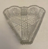 ANTIQUE AMERICAN BRILLIANT PERIOD ABP CUT GLASS TRIANGLE BOWL SCALLOPED/SAWTOOTH
