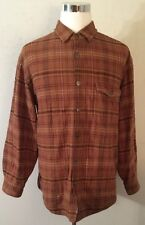 Woolrich men's large buckskin plaid snap up fleece lined Flannel jacket