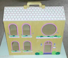 Children's All Wooden Painted Dollhouse Wood Doll House Little Girl Play