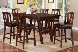 Dark Walnut 7 Pc Dining Set Counter Height Dining Table High Chairs Dining Room