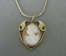 Vintage Cameo Heart Gold Plate or Fill Sterling Gold Vermeil Chain Necklace