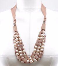 LANVIN Faux Pearl Necklace Ribbon Grosgrain Crystal Silver Nude Brown Tie