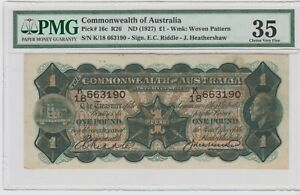 Commonwealth of Australia 1 Pound 1927 P# 16c PMG 35 .CHOICE VERY FINE
