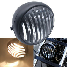 """1pcs Black 12V 55W 7"""" Motorcycle Finned Grill Headlight For Harley Cafe Racer"""