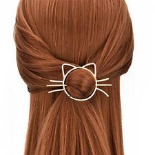 Women Fashion  Cute Hollow Cat Hairpins Disk Hair Clips Hairbun Hair Accessories