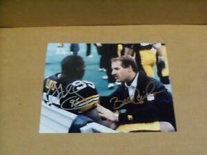 Bill Cowher & Greg Lloyd, Signed Pgh Steelers, 8 x 10, Game Action photo, Clean