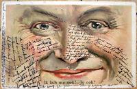 1900 Postcard: Face Close-Up of Man - Color Litho, Eyes & Nose