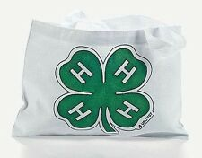"""1 Color Your Own 4-H Cotton Tote Bag  10""""  x  7""""  NEW"""
