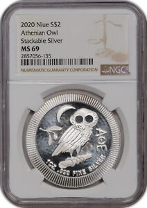 2020 NIUE SILVER $2 ATHENIAN OWL  SILVER MS 69 NGC ONLY 1 GRADED HIGHER;