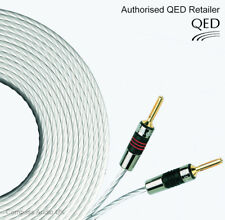 2 x 2m QED Silver MICRO Speaker Cable AIRLOC Forte Banana Plugs Terminated Pair