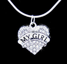 MY GIRL HEART CRYSTAL CHARM PENDANT SILVER  CHAIN NECKLACE VALENTINE LOVE