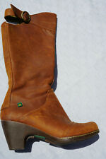 El Naturalista Women's Mid Calf Boot Brown Leather Boots Sz 37 Made Spain #1-13