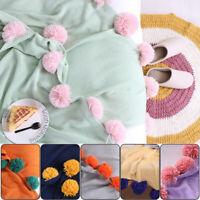 POM POM Crochet Knitting Blanket Cotton Soft Warm Throw Sofa Blanket 130*160cm