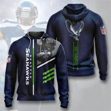 Seattle Seahawks Hoodie Zipper Sweatshirt Football Hooded Sports Jacket Fan Gift