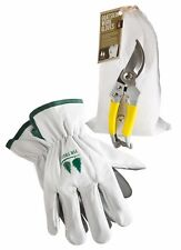 Gardening Tools Set by Fir Tree. Goatskin Leather Work Gloves and Stainless Stee