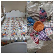 "VTG Pinwheel Cotton Calico Quilt Top 76x84"" Hand & Machine Sewn Pin Wheel Star"