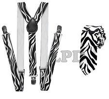 New Awesome Black & White Zebra Print Design NeckTie & Suspender Set Combo