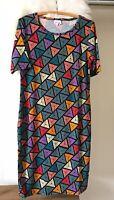 NWOT Lularoe Womens Dress Black Multi Color Long Geometric Short Sleeve Size L