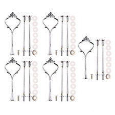Accent Plates,Petforu 5 Sets Crown 3 Tier Cake Stand Fittings Hardware Holder fo