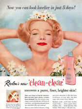 Revlon Clean and Clear BLOND MODEL W/ DAISIES Look Lovelier 1957 Magazine Ad
