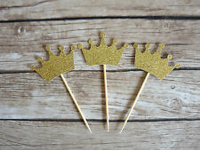 10x Crown Cupcake Toppers - Gold glitter Tiara Princess Prince Fairytale Party