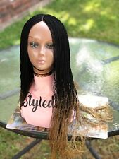 """Fully handmade braided Ombre (Two Tone)black&gold tip lace closure wig 32""""long.."""