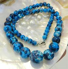 6-14mm Blue Multicolor Turkey Turquoise Gems Round Beads Necklace 18""