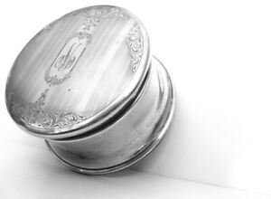 Large Victorian Birks Sterling round Jewelery Box
