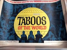 1965 TABOOS OF THE WORLD Mondo Vincent Price AIP Orig 1/2 Sheet MOVIE POSTER