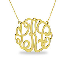 1.5 inch monogrammed jewelry-Gold plated Necklace-3 initial custom necklace
