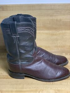 JUSTIN Roper Cowboy BOOTS Size 8.5D Mens 3343 Western Two Tone Made In USA