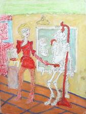Vintage expressionist risque portrait pastel painting