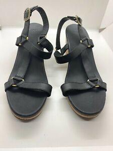 Teva Black Leather Arrabelle Universal Womens Wedges Cork Sandals Sz US 10