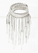 "silver boho dangle leaf bangle bracelet upper arm cuff 5"" drop"
