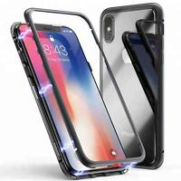 Magnet Bumper Case Für iPhone X / XS Handy Hülle Glas Metall Schutz Hülle