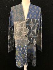 J Jill Sweater Blue Gray Print One Button Wool Blend Cardigan NWT Womens Plus 1X