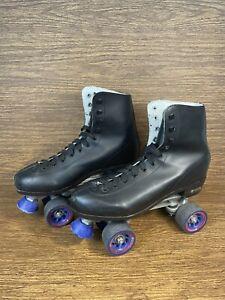 "Men's ""Chicago"" Roller Skates Black Leather US Men Sz. 11 w/ Blue Wheels"