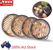 Bamboo Steamer Kitchen Cookware Basket Cooker Set Stainless Steel Lid Cook Tool