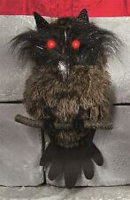 39CM HALLOWEEN STUFFED BROWN FEATHER OWL BIRD PROP DECORATION WITH LIGHT UP EYES