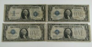 Lot of 4 1928 & 1934 $1 Funnyback Silver Certificates Heavily Circulated