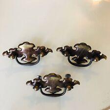 Vintage Solid Brass Round Drop Handle Drawer Cabinet Door Pull Handle Old Look