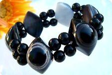 Bracelet Agate Stripe Agate Black Stretchy Pearls Pearl Bracelet Jewelry A687