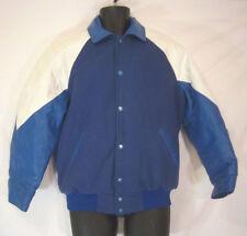 Varsity Jacket Leather And Wool Full Zip True Vintage Winnipeg Made Blue White