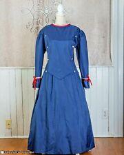 Navy Civil War Gown Dress Bustle Train Reenactment Theater Military Large