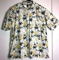 Nautica Mens L Hawaiian Button Front Short Sleeve Shirt Cactus Palm Tree Print