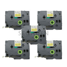 5pk Black on Yellow Label Tape Fit for Brother PTouch TZ TZe S641 18mm