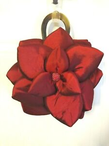 MAD BY DESIGN 3D FLOWER PETALS Silk Burgundy-Red Wine Horn Handles Purse.