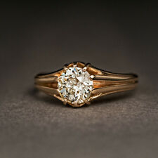 1.10 Ct Old European Cut Diamond Gold Unisex Ring