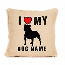 I Love My Staffie Staffordshire Bull Terrier Personalised Cushion Cover Dog Gift